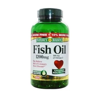Nature's Bounty Fish Oil 1200 mg Mu ... N Suplemen [200 Softgels]