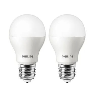 Philips LED Putih Lampu Bohlam [7 W - 60 W/2 Pcs]
