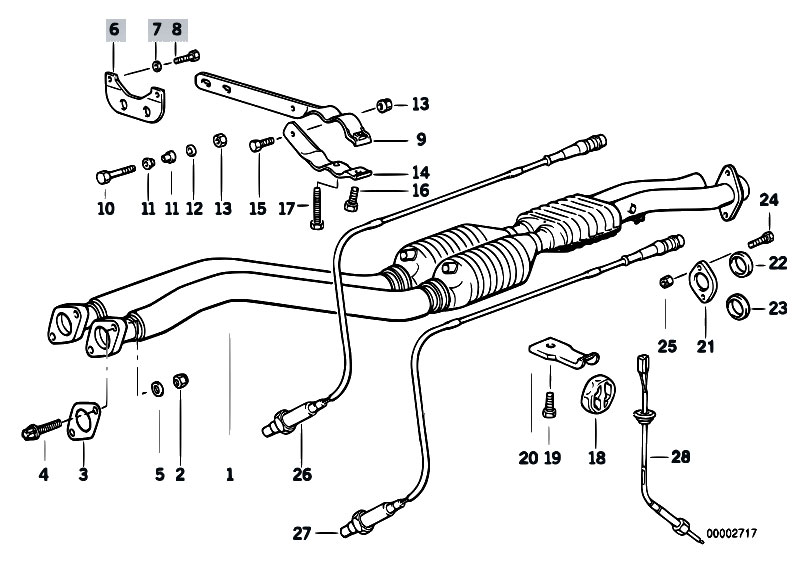Original Parts for E36 M3 3.2 S50 Sedan / Exhaust System