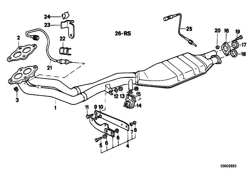 Original Parts for E34 525i M20 Sedan / Exhaust System