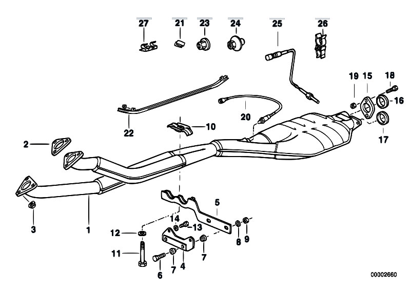 Original Parts for E34 520i M50 Touring / Exhaust System