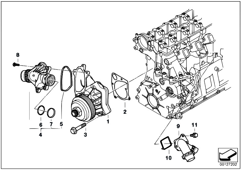 Original Parts for E60 530d M57N Sedan / Engine/ Waterpump