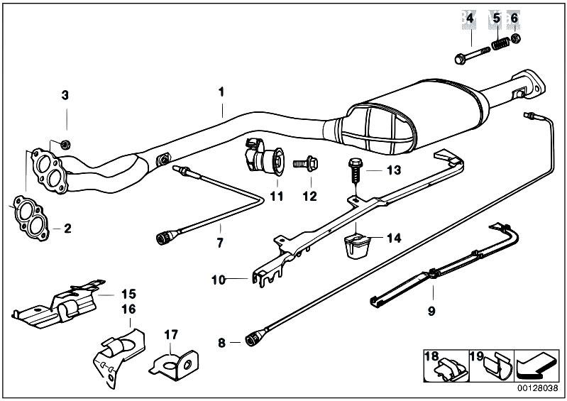 Original Parts for E36 318is M44 Sedan / Exhaust System