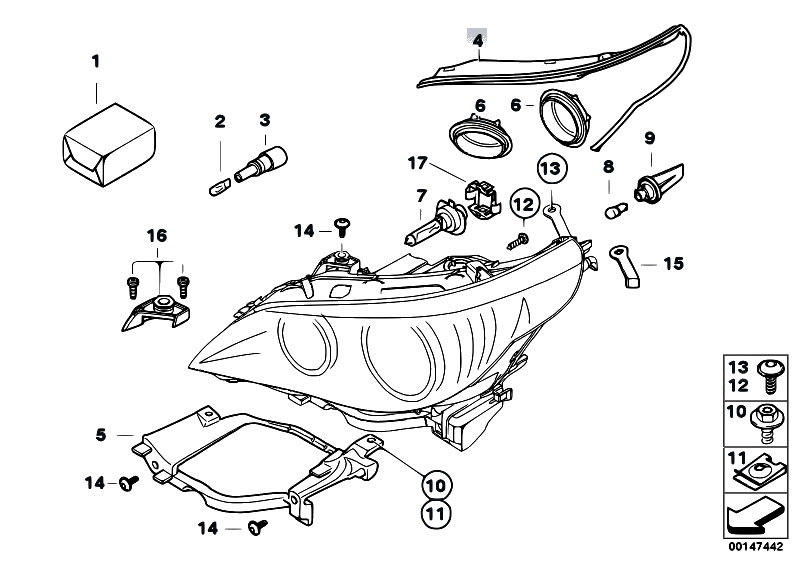 Original Parts for E60 530d M57N2 Sedan / Lighting