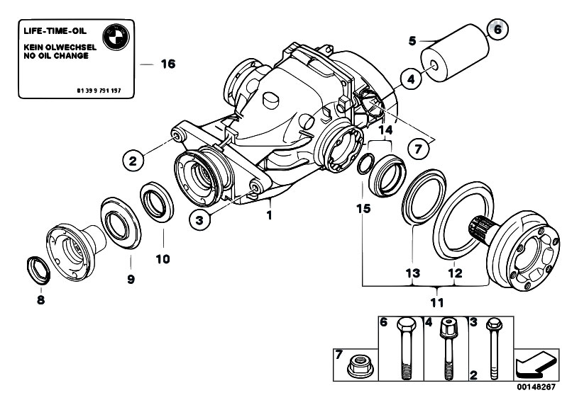 Original Parts for E90 320d M47N2 Sedan / Rear Axle