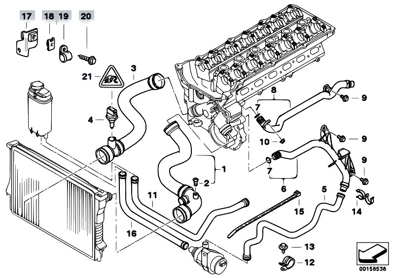 Original Parts for E38 728i M52 Sedan / Engine/ Cooling