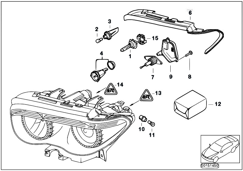 Original Parts for E65 730d M57N2 Sedan / Lighting/ Indiv