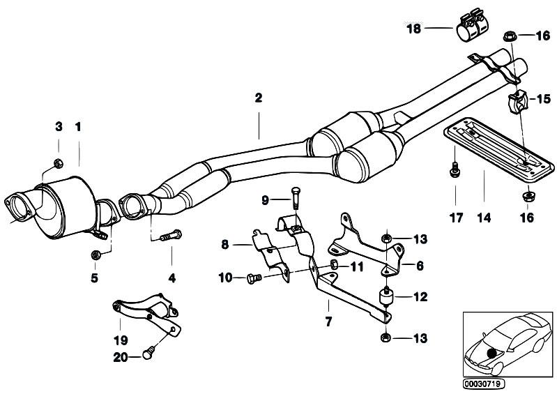 Original Parts for E38 730d M57 Sedan / Exhaust System
