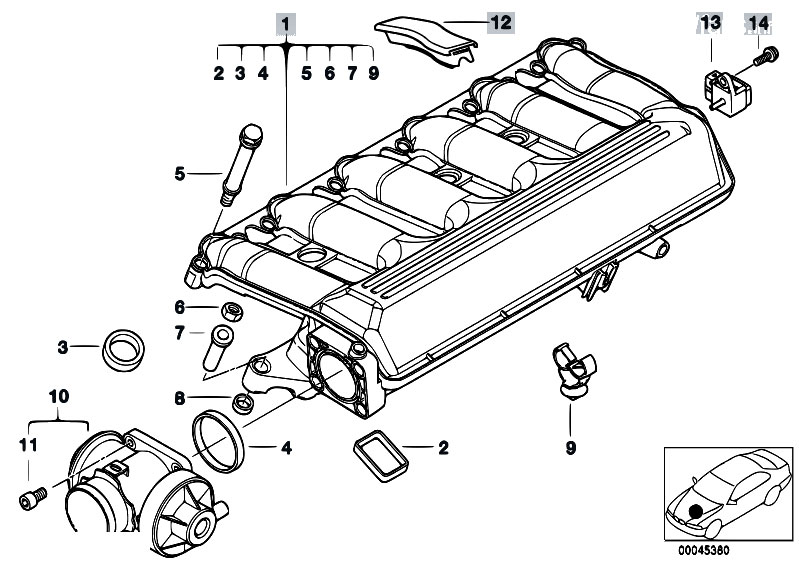 Original Parts for E46 330d M57 Touring / Engine/ Intake