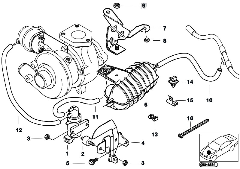 Original Parts for E46 320d M47 Sedan / Engine/ Vacum