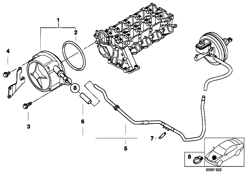 Original Parts for E46 320d M47 Touring / Engine/ Vacuum