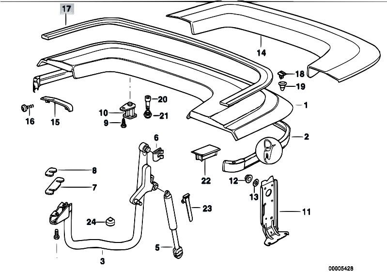 Original Parts for E36 323i M52 Cabrio / Bodywork/ Folding