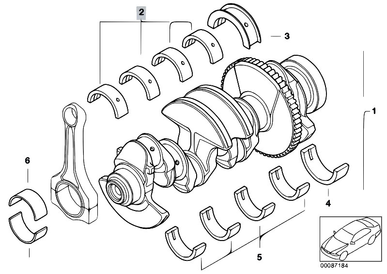 Original Parts for E46 318i N42 Sedan / Engine/ Crankshaft