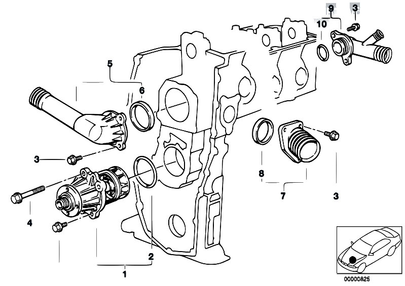 Original Parts for E34 518i M43 Sedan / Engine/ Waterpump