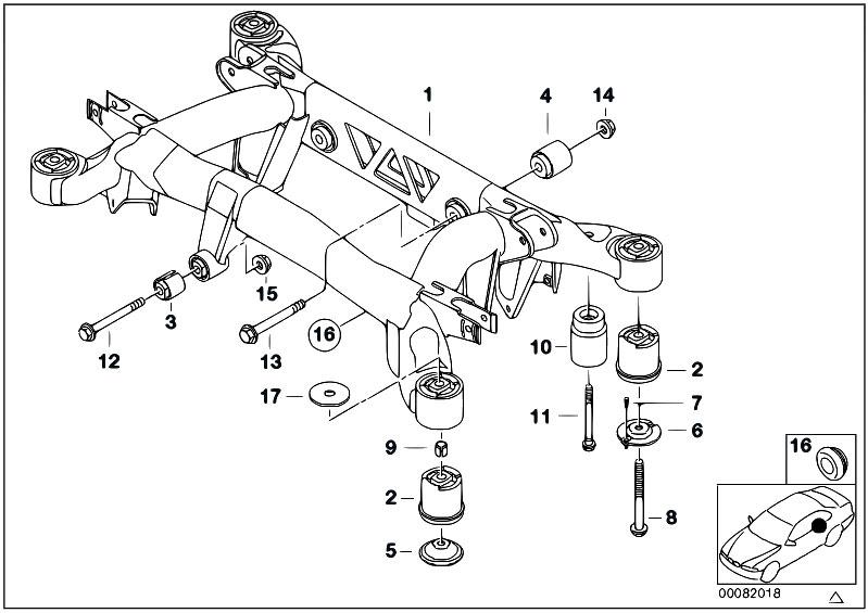 Original Parts for E38 750iL M73N Sedan / Rear Axle/ Rear