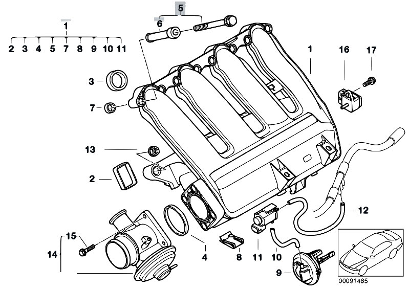 Original Parts for E46 320d M47N Touring / Engine/ Intake