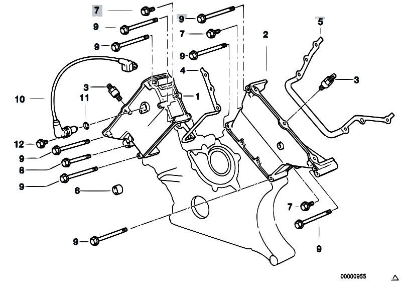 Original Parts for E38 740iL M62 Sedan / Engine/ Upper