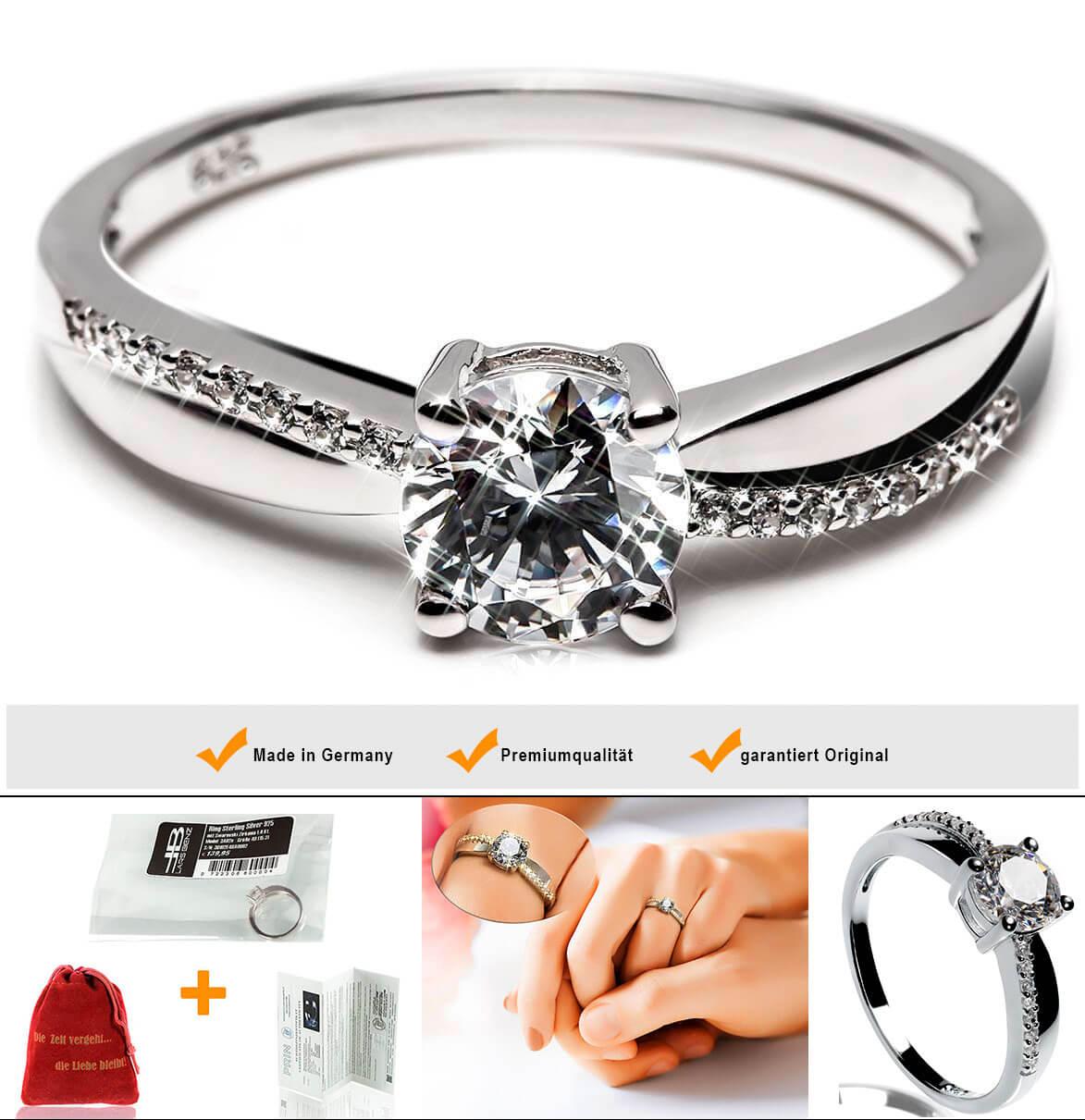 Luxus Verlobungsring Solitrring 925 Silber mit SWAROVSKI
