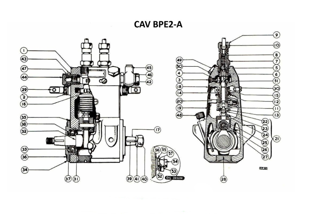 CAV BPE-2A Fuel Injection Pump Exploded Parts Diagram