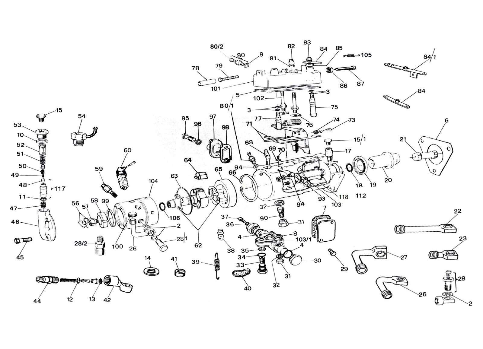Lucas CAV DPA Fuel Injection Pump Exploded Parts Diagram