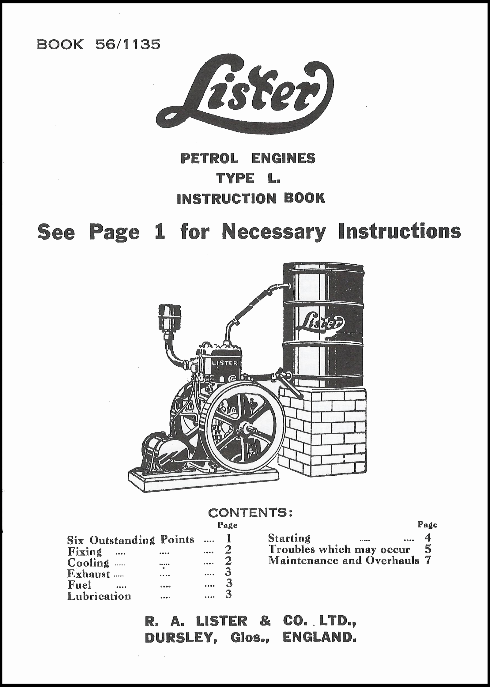 Lister L Instruction Book :: Lister Engine Books :: Books