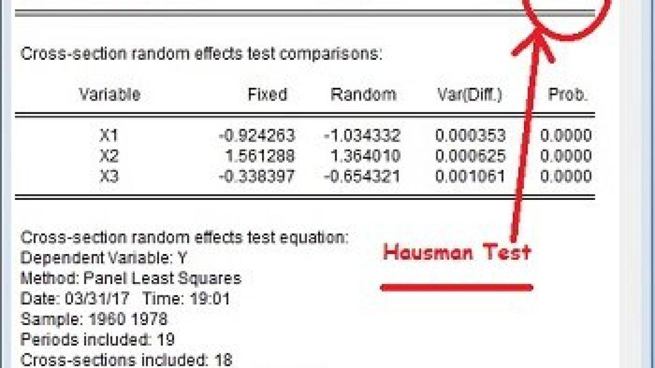 Hausman Test dengan Eviews Dalam Regresi Data Panel – Uji