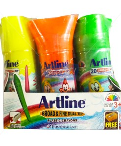 Artline 20 Broad & Fine Plastic Crayons by StatMo.in