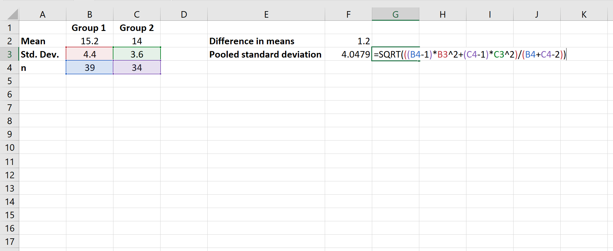How To Calculate Cohen S D In Excel