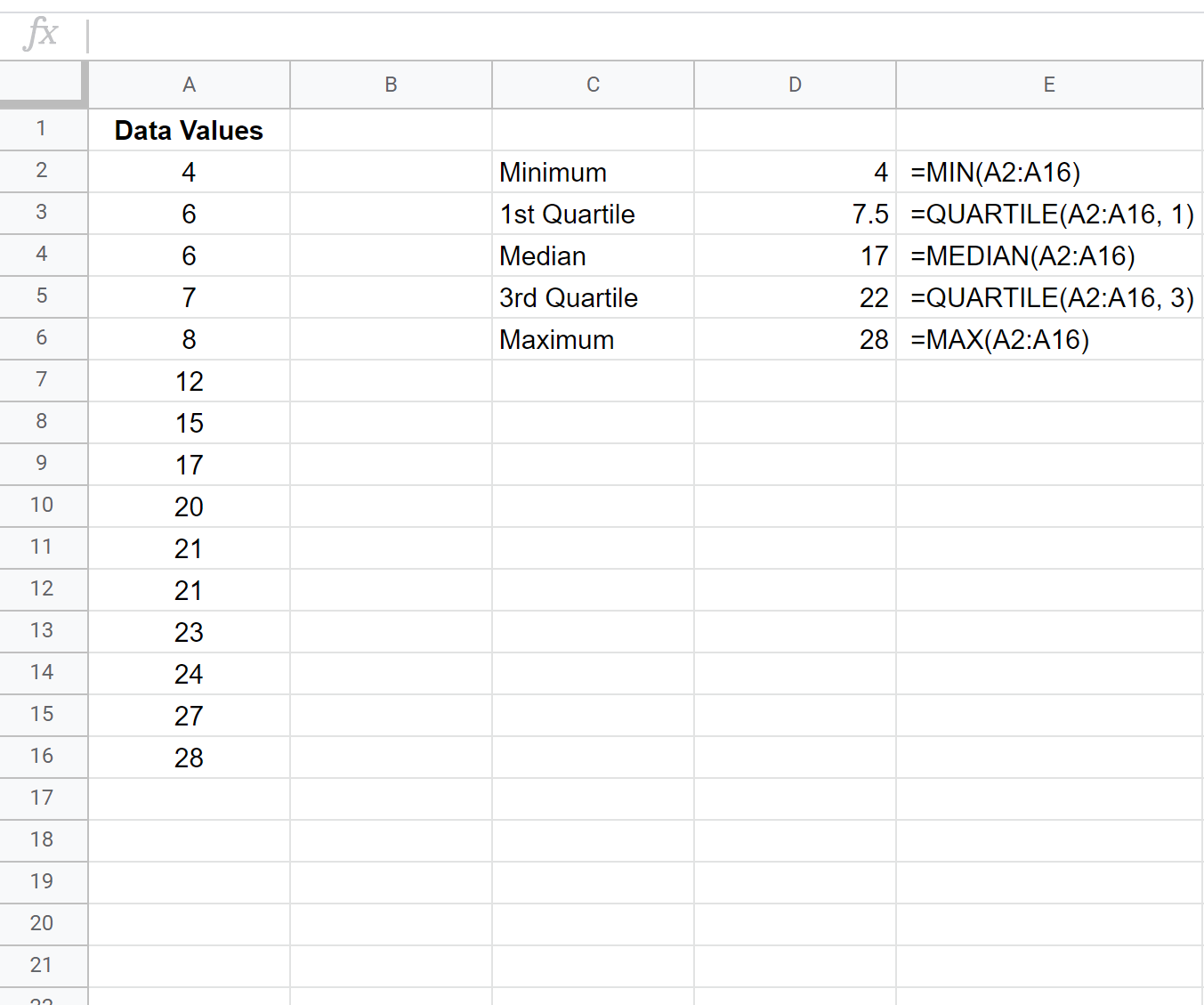 How To Calculate A Five Number Summary In Sheets