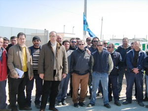 Lo sciopero nel marzo del 2009 dei lavoratori della Inside (nell'immagine le Rsu della azienda, image for l'Attacco di Foggia)
