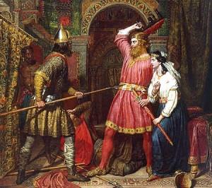 L'assassinio a Verona di Alboino re dei Longobardi nel 572 di Charles Landseer (1856)