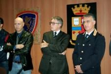 Una fase della conferenza stampa svoltasi in Questura a Foggia dopo l'arresto di Silvio Stramacchia (MAIZZI)