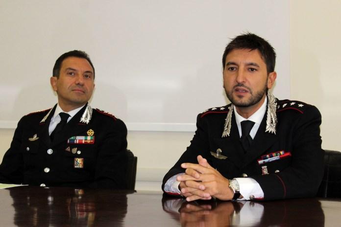 Conferenza carabinieri (In primo piano da sx: il Colonnello A.Basilicata e il Comandante della Compagnia dei Carabinieri di Manfredonia Cap. Andrea Miggiano - ph MAIZZI) ARCHIVIO