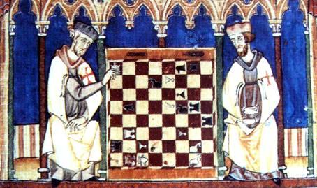 Fig.2 Cavalieri templari che giocano a scacchi, miniatura tratta dal Libros del Ajedrez, dados y tablas di Alfonso X il Saggio, 1283.  Real Biblioteca del monastero di San Lorenzo de L'Escorial, Madrid.
