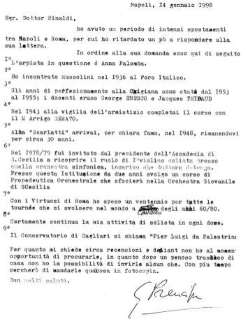 1998-Lettera del M° Giuseppe Prencipe a Franco Rinaldi