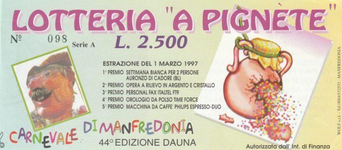 Carnevale 1997-Lotteria a Pegnete
