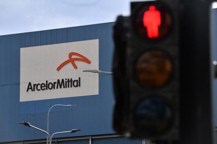 La scritta della Acelor Mittal sullo stabilimento siderurgico ex Ilva di Genova Cornigliano. Genova, 05 novembre 2019. ANSA/LUCA ZENNARO