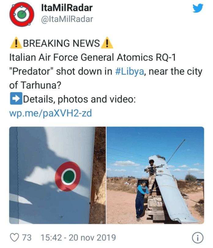 """""""Partito da Foggia il drone militare abbattuto in Libia?"""" (ph noinotizie)"""