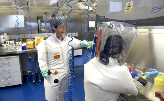 Shi Zhengli works with other researchers in a lab at the Wuhan Institute of Virology. (Chinatopix via AP)
