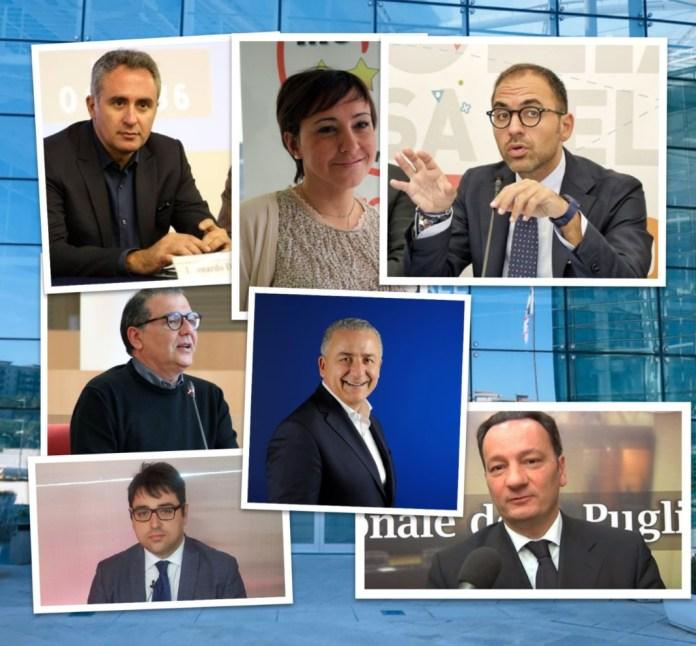 I consiglieri regionali uscenti Leo Di Gioia, Rosa Barone, Raffaele Piemontese, Paolo Campo, Giandiego Gatta, Napoleone Cera, GIannicola De Leonardis