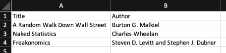 Step 1: Booklist created in Excel