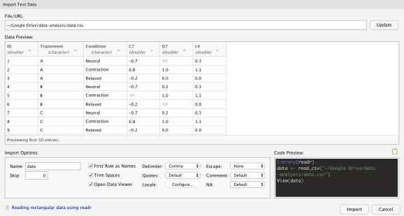 Import window in RStudio