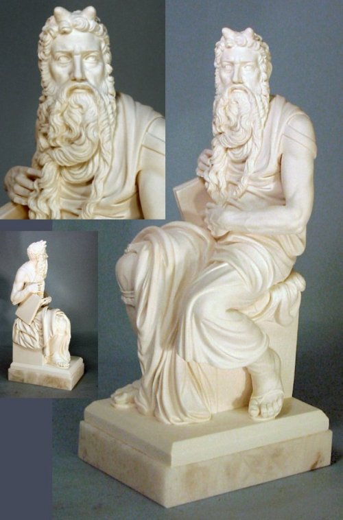 Moses Sculpture On Alabaster Base 12