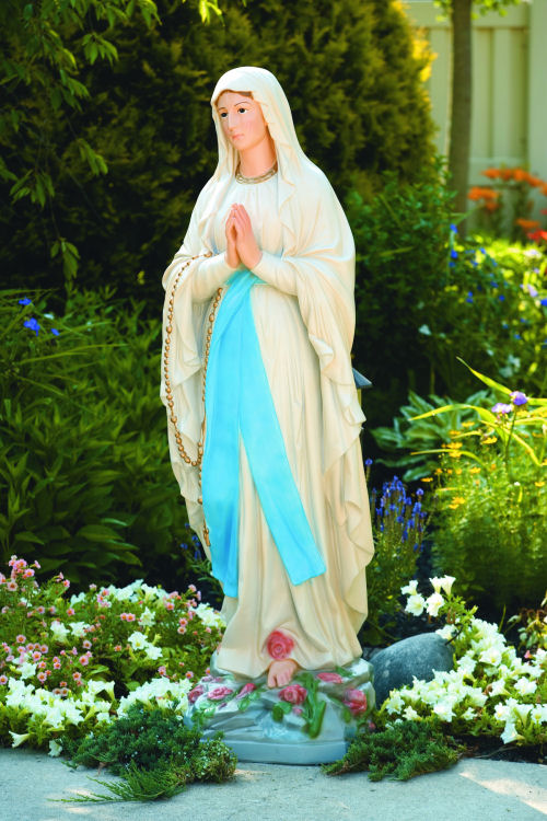 Our Lady Of The Lourdes Life Size Cement Garden Statue
