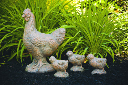 Hen & Three Garden Chicks Garden Statues
