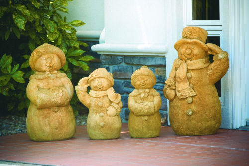 Snow Man Family Cement Garden Statues Set Of 4