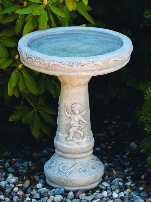 One Piece Cherub Bird Bath 21.5