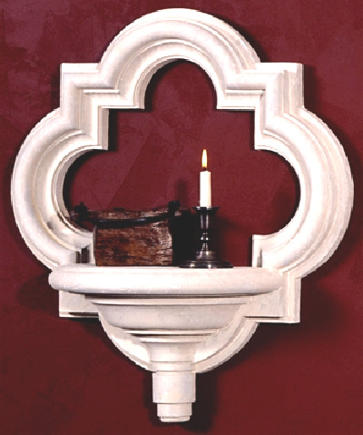 Architectural Quatrefoil Renaissance Wall Hanigng with Shelf