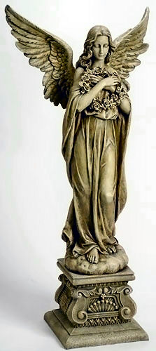 Angel Holding Wreath Sculpture