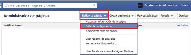 Cómo editar la configuración de una fan page